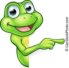 Pointing Cartoon Frog - An illustration of a cute cartoon...
