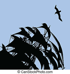 vector illustration of the sail on background blue sky