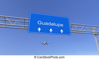 Commercial airplane arriving to Guadalupe airport....