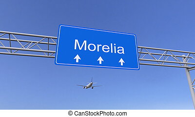 Commercial airplane arriving to Morelia airport. Travelling...