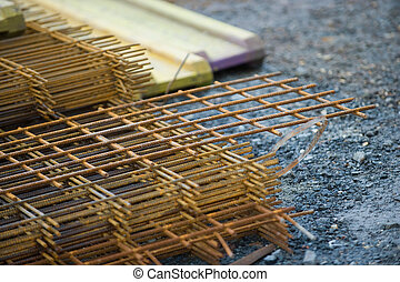 Stack of reinforcing bar mesh in a construction site
