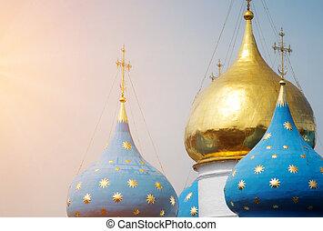 Dormition Cathedral - Closeup of the cupolas of Dormition...