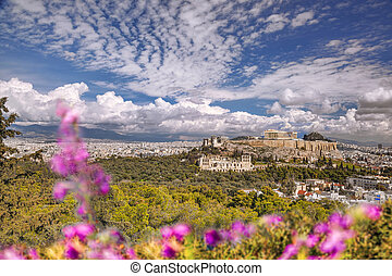 Parthenon temple during spring time on the Athenian...