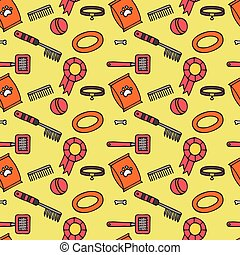 Doodle isolated seamless pattern of dog items elements. Pet icons walking, feeding, grooming salon equipment