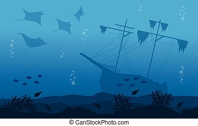 Silhouette of big ship stingray underwater landscape vector