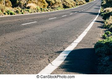 Desert road, diminishing perspective - Empty desert road,...