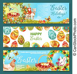 Easter egg and rabbit cartoon banner set design - Easter egg...