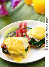 Eggs Benedict - Eggs benedict. Poached eggs on toasted...