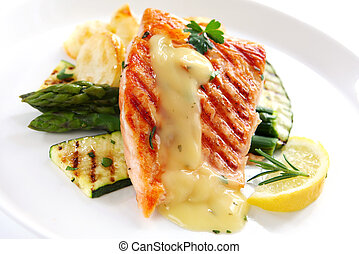 Salmon Dinner - Grilled Atlantic salmon fillet, with roasted...