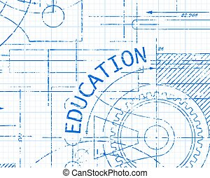 Education Graph Paper Machine - Education text with gear...