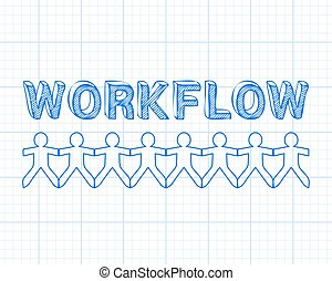 Workflow People Graph Paper - Workflow text hand drawn with...