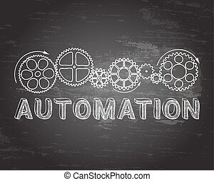 Automation Blackboard - Automation text with gear wheels...