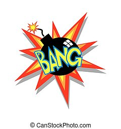 Cartoon Bomb Icon - Cartoon bomb going bang colorful text...