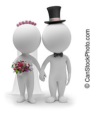 3d small people - wedding of the groom and the bride. 3d...