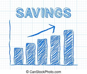 Savings Up Graph Paper - Increasing graph and savings word...