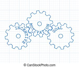 Incentive Gear Wheels Graph Paper - Incentive, motivation...