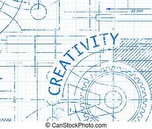 Creativity Graph Paper Machine - Creativity text with gear...