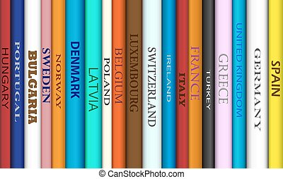 Book Europe Destinations - Book spines with different...