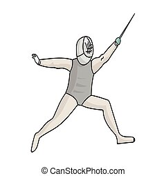 The athlete outfit with a sword.Fencing competitions .Olympic sports single icon in cartoon style vector symbol stock illustration.