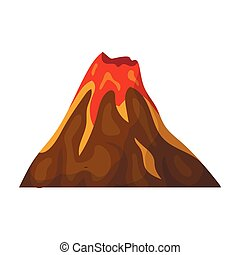 A fiery volcano.A mountain in which there is a volcanic eruption.Different mountains single icon in cartoon style vector symbol stock illustration.