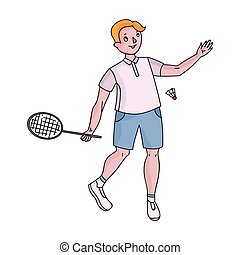 Young people involved in badminton. The game of badminton with a partner.Olympic sports single icon in cartoon style vector symbol stock illustration.