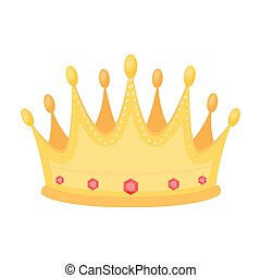 Golden crown with diamonds the winner of the beauty contest.Awards and trophies single icon in cartoon style vector symbol stock illustration.