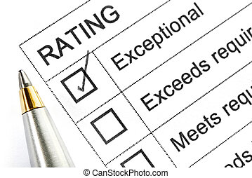 "Exceptional Rating - Rating ticked in the ""exceptional"" box...."