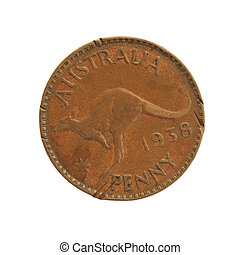 Old Australian penny, isolated on white Looks like its been...