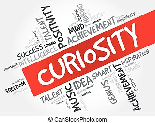 Curiosity word cloud collage, creative business concept...