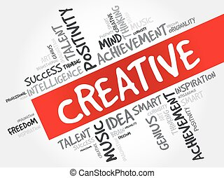 Creative word cloud collage, creative business concept...