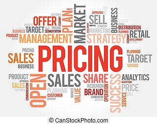 Pricing word cloud collage, business concept background