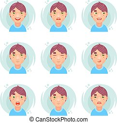 Funny emotions cute boy avatar icons set flat design vector illustration