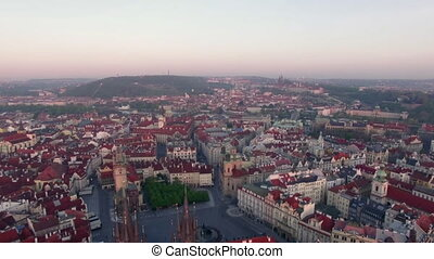 Aerial view of old center of Prague, Czech Republic....