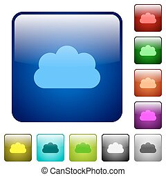 Cloud color square buttons - Cloud icons in rounded square...