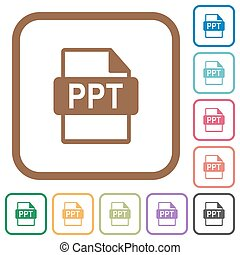 PPT file format rounded square flat icons simple icons in...