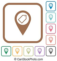 Tagging GPS map location simple icons in color rounded...