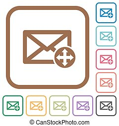Move mail simple icons in color rounded square frames on...