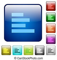 Text align left color square buttons - Text align left icons...