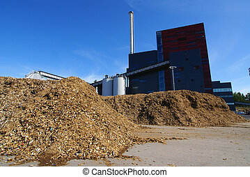 bio power plant with storage of wooden fuel