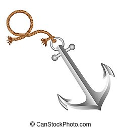 realistic silver silhouette anchor design with rope break