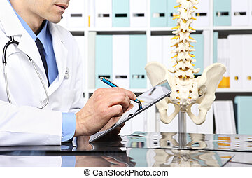 Radiologist doctor with digital tablet checking xray,...