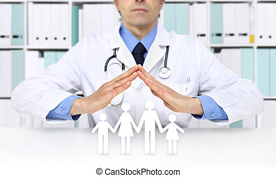 medical insurance concept, doctor hands