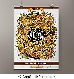 Cartoon doodles Africa poster template - Cartoon colorful...