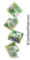 Aussie Hundreds Falling - Australian one hundred dollar...