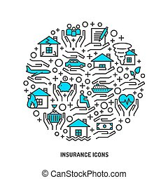 Insurance service outline icons set