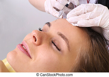 Mesotherapy injections in the face. - Mesotherapy. Beautiful...