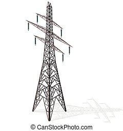 Vector high voltage pylon on white background, isometric 3d...