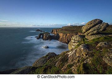sennen, borde,  Cornwall, acantilado