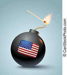 Bomb with american flag.