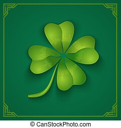 3D clover on green background.